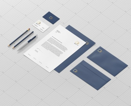 Stationary Branding Mockup Side View