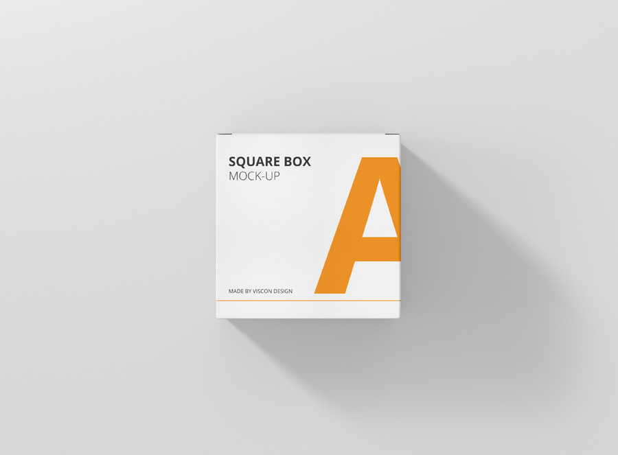 box mockup square front topview