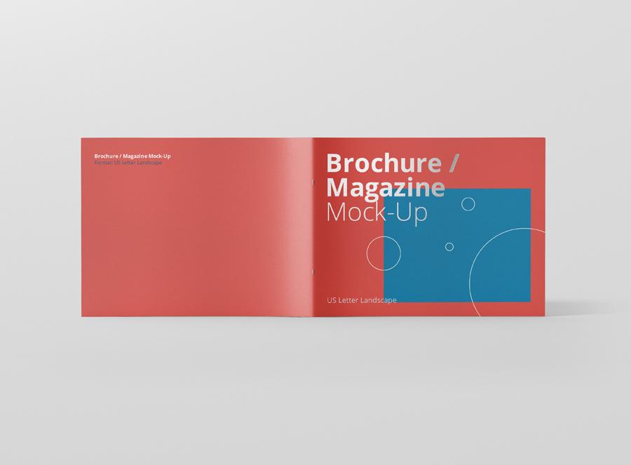 Us Letter Landscape Brochure  Magazine MockUp  Premium And Free