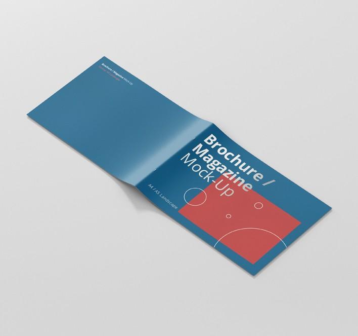 A Landscape Brochure  Magazine MockUp  Premium And Free Mockups