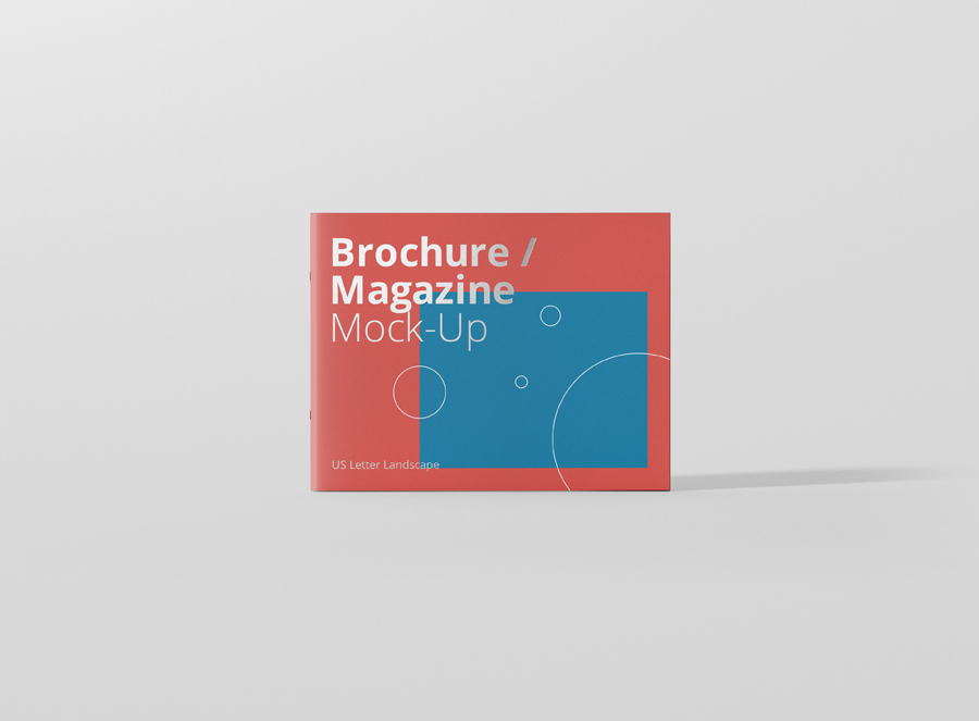 Us Letter Landscape Brochure / Magazine Mock-Up - Premium And Free