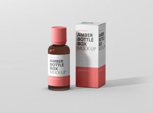Amber Bottle Box Mockup