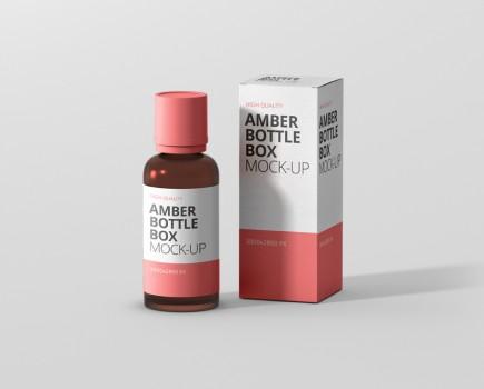 Amber Bottle Box Mockup