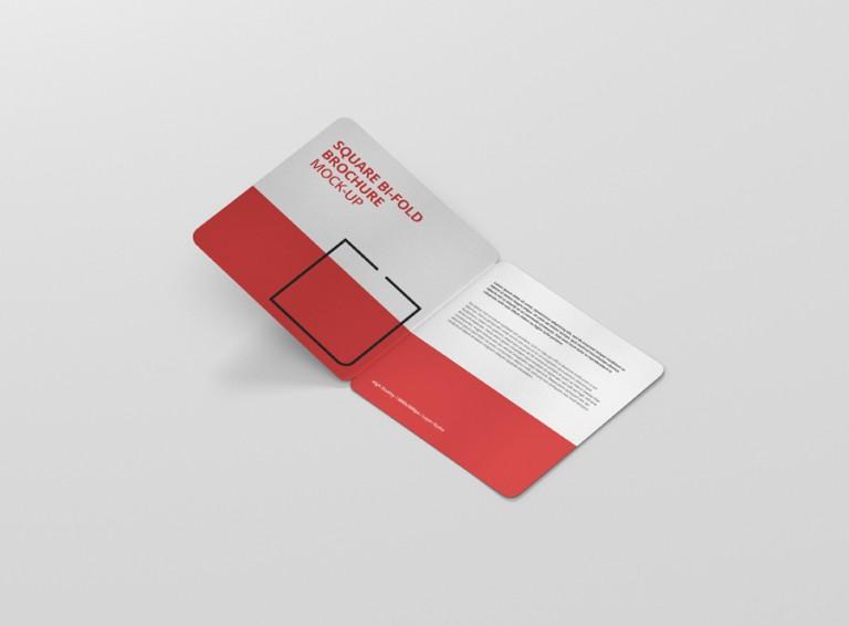 Square Bi-fold Brochure Mockup Rounded