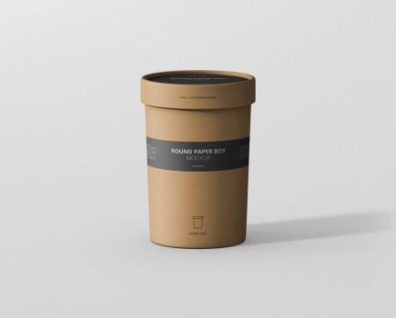 Paper Box Mockup Round Large Size