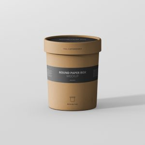 Paper Box Mockup Round Medium Size