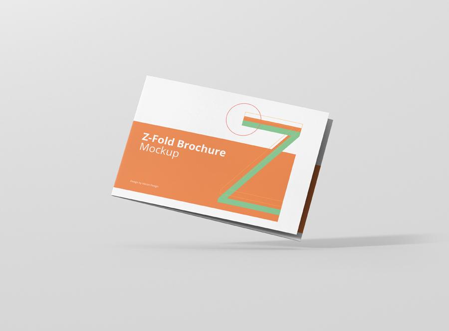 z fold brochure mockup landscape din a4 a5 a6 viscon design
