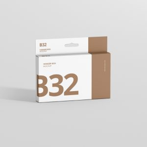 Box Mockup Wide Slim Rectangle Size with Hanger