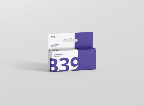Box Mockup Wide Small Rectangle with Hanger