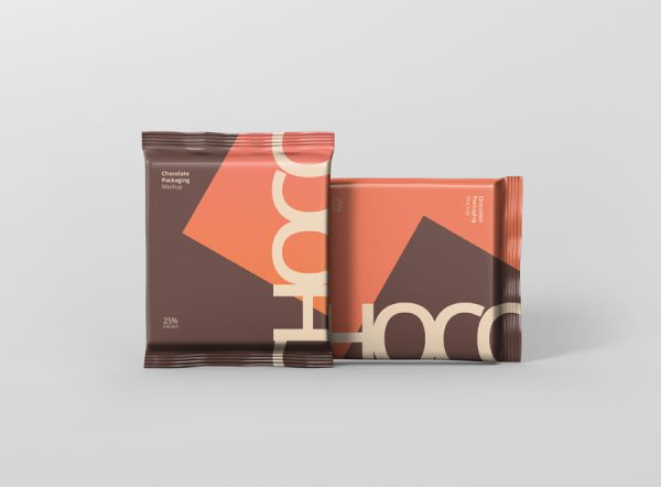 Foil Chocolate Packaging Mockup Square Size