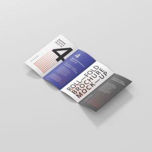 Roll-Fold Brochure Mockup DL DIN Lang