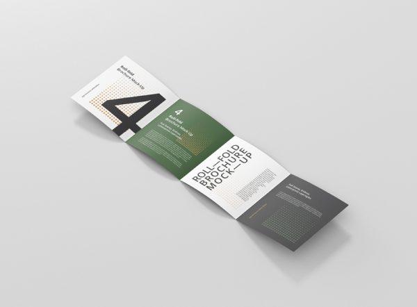 Roll-Fold Brochure Mockup Square Format