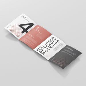 Roll-Fold Brochure Mockup 8.5x11 inch US Letter
